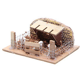 Sheep corral with sheep 6x14.5x11cm, nativity setting s2