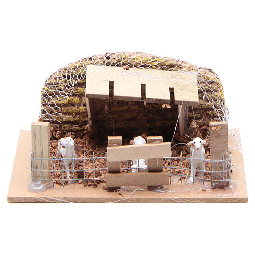 Sheep corral with sheep 6x14.5x11cm, nativity setting 1