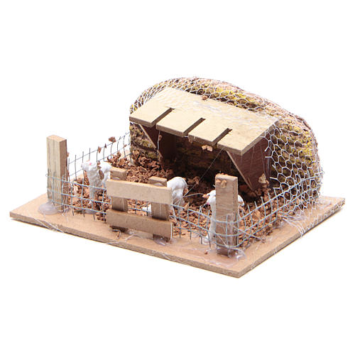 Sheep corral with sheep 6x14.5x11cm, nativity setting 2