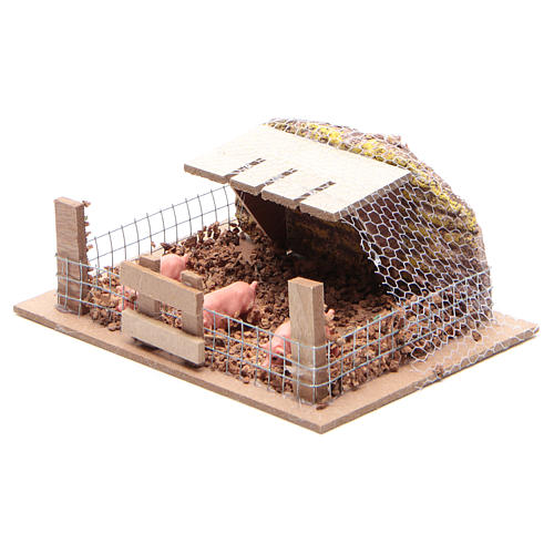 Containment with Pigs 6x14,5x11cm for Nativity 2