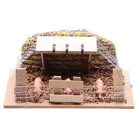 Corral con cerdos 6x14,5x11 cm para belén s1