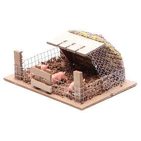 Corral con cerdos 6x14,5x11 cm para belén s2