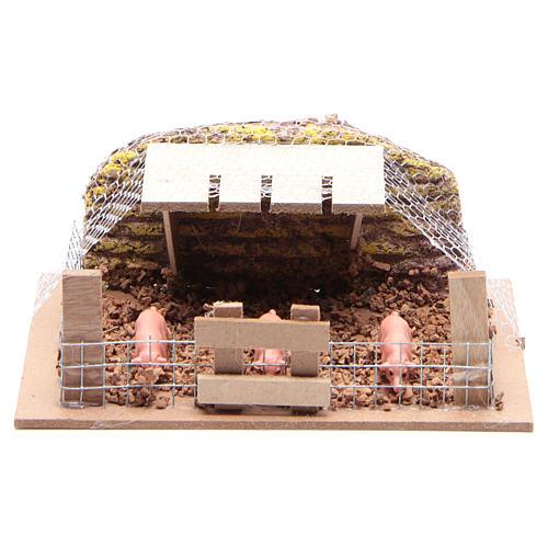 Corral con cerdos 6x14,5x11 cm para belén 1