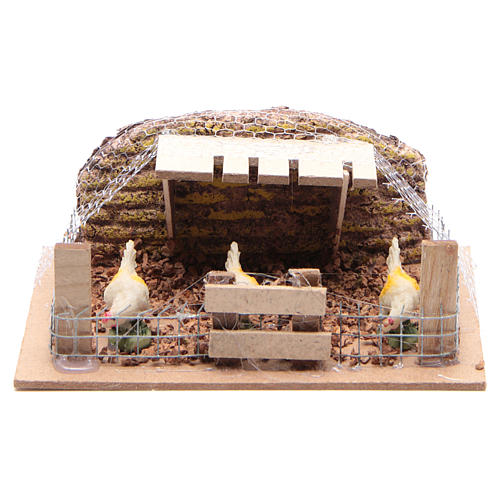 Enclosure with Hens 6x14,5x11cm for Nativity 1