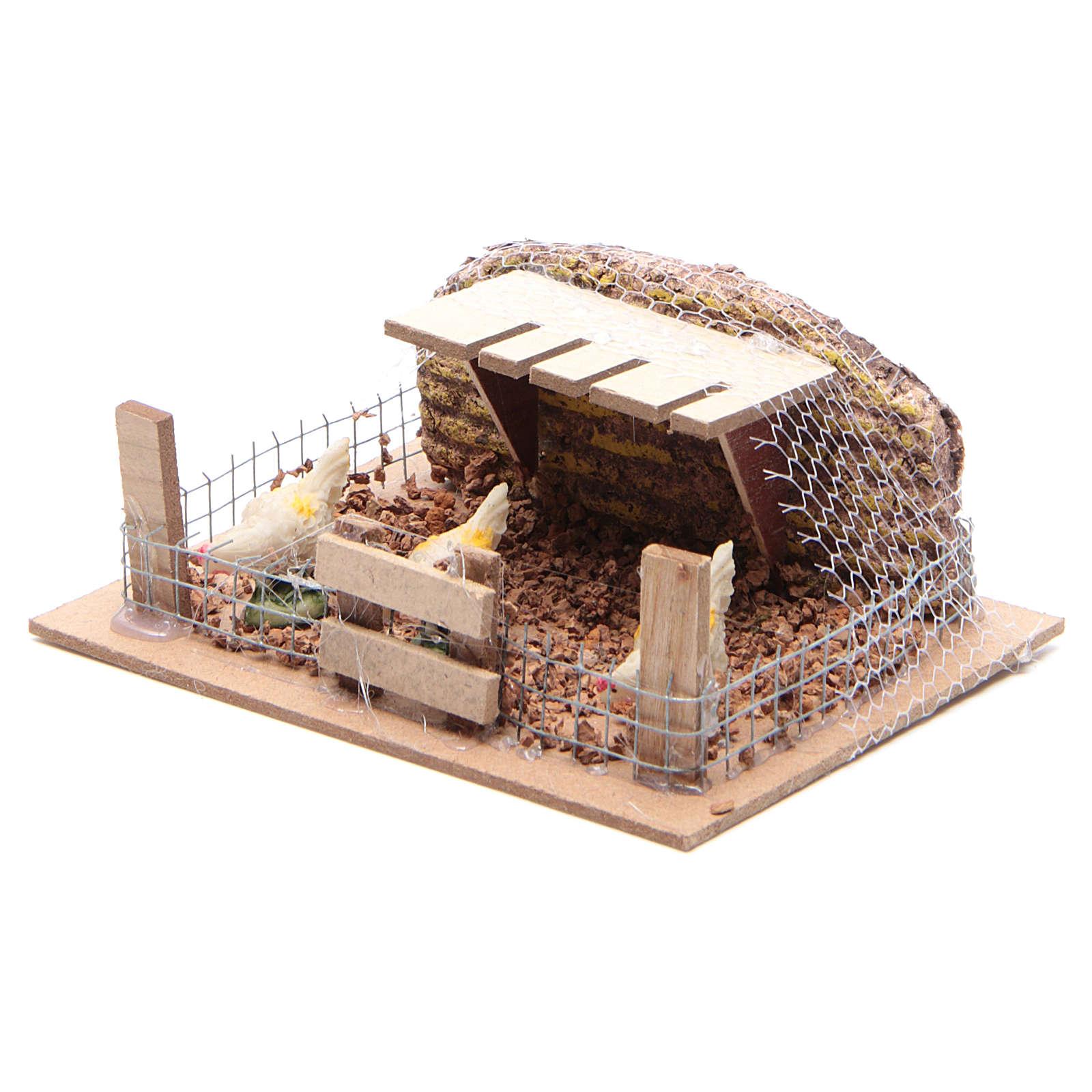 Corral con gallinas 6x14,5x11 cm para belén 3