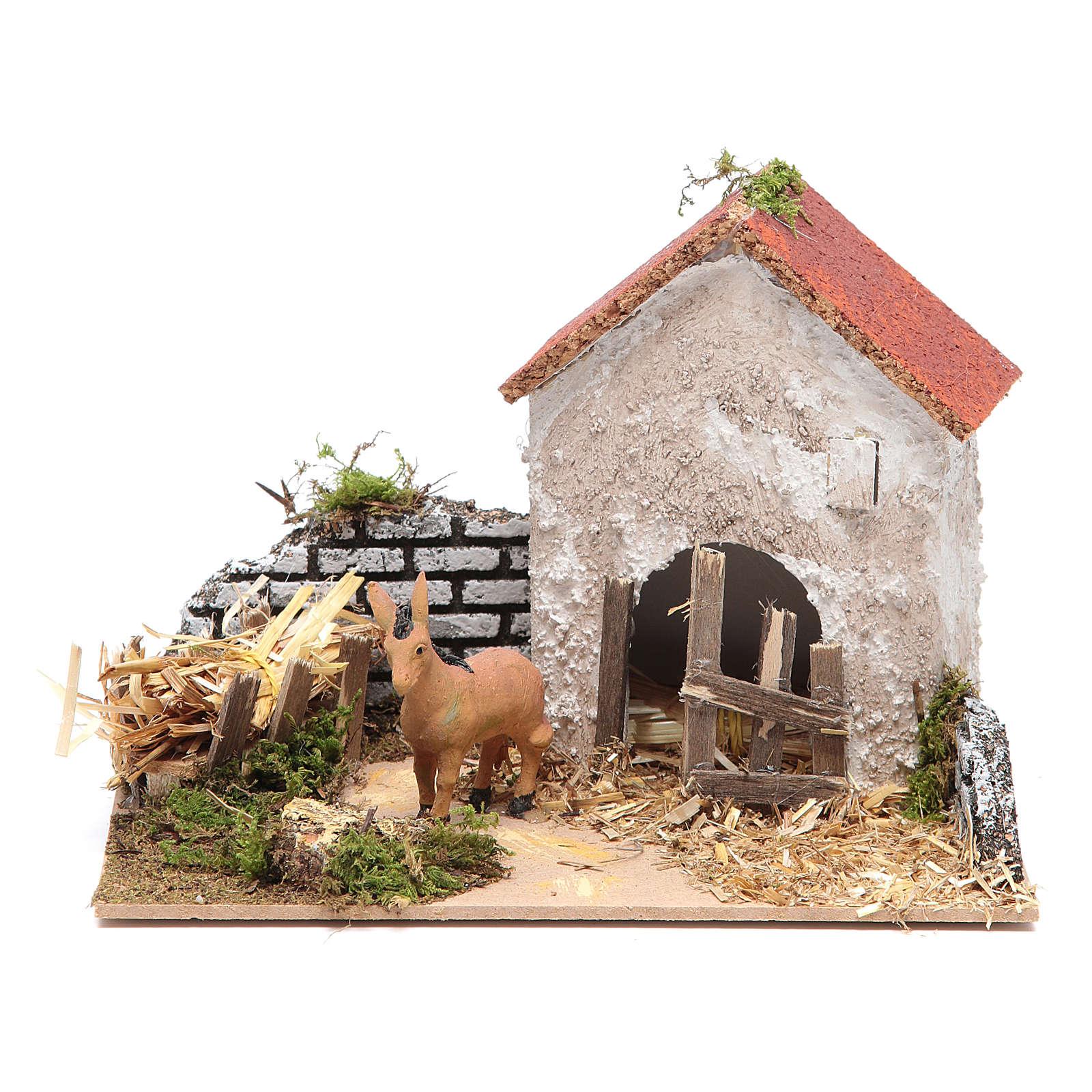 Ambientazione contadina con asino 15x20x15 cm 3