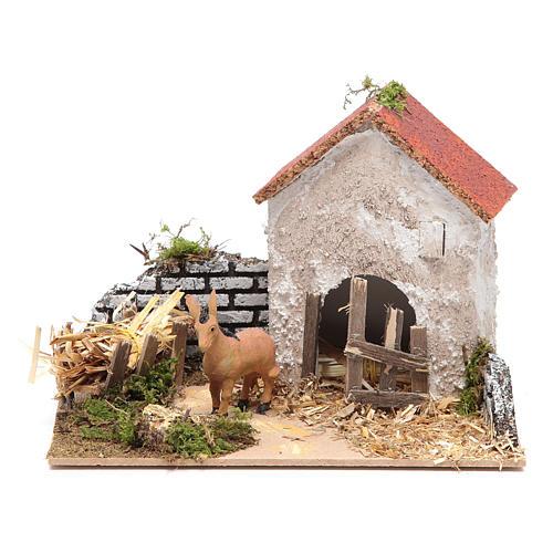 Ambientazione contadina con asino 15x20x15 cm 1