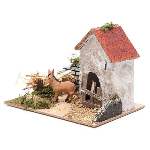 Ambientazione contadina con asino 15x20x15 cm 2