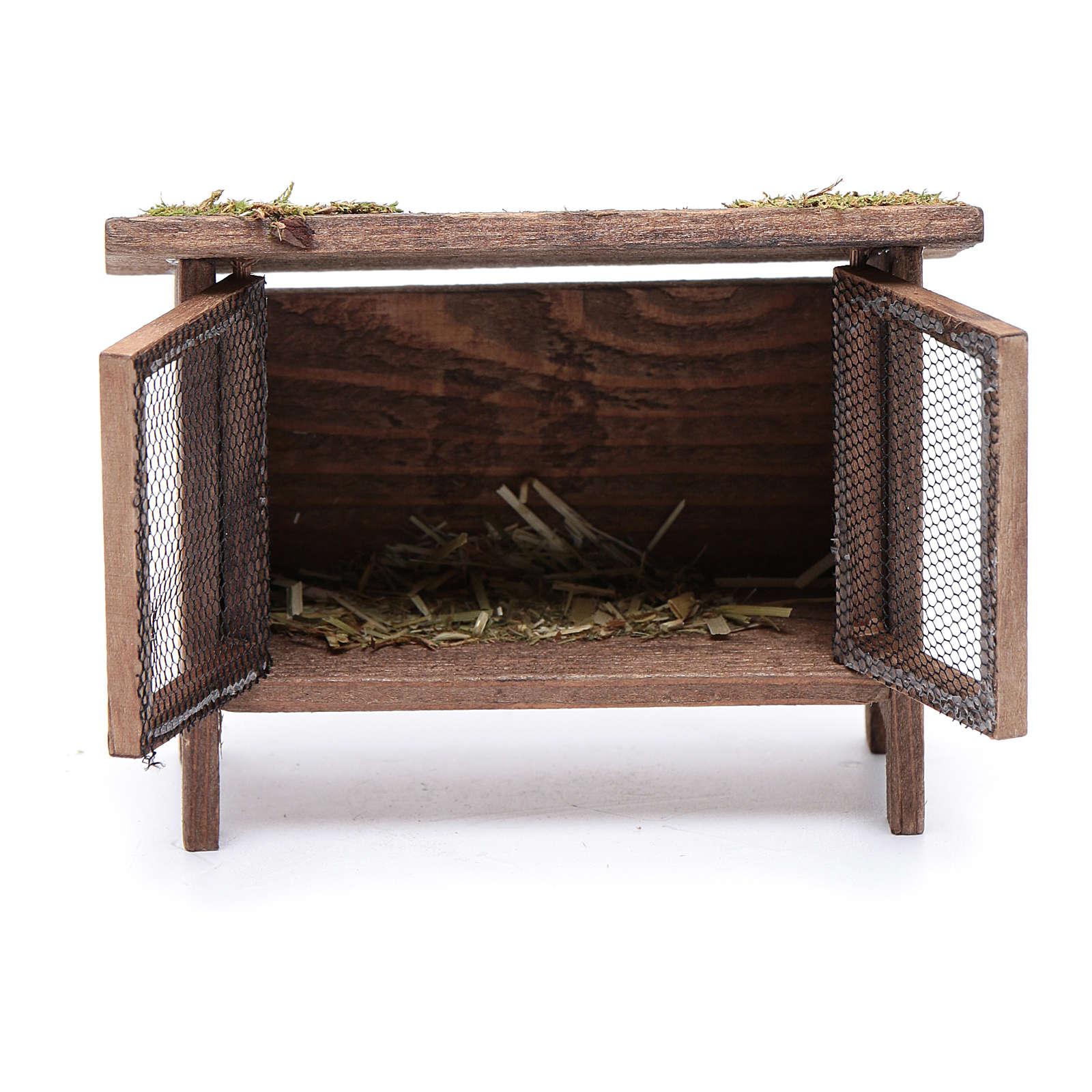 Gabbietta per lepri con paglia e rete - 10x10x5 cm 3
