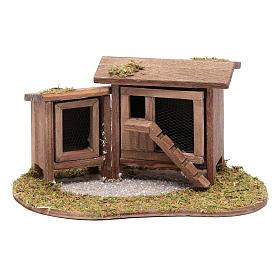 Animaux pour la crèche: Abri pour poules et lapins 7x13,8x10 cm