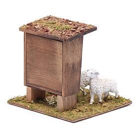 Mangiatoia con pecorelle 10x10x10 cm s3