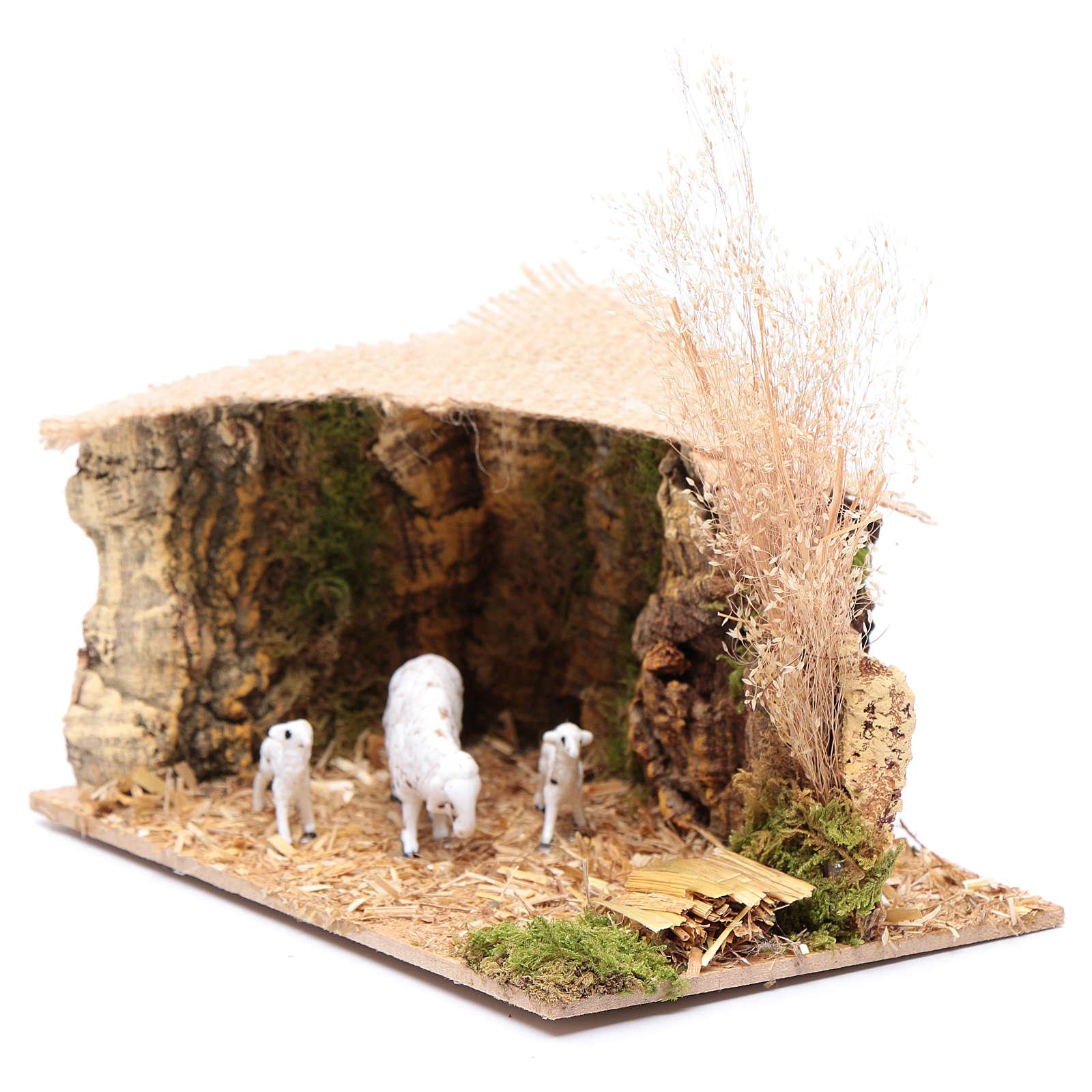 Szenerie Unterstand für Schafe mit Jutedach 5x15x10 cm 3