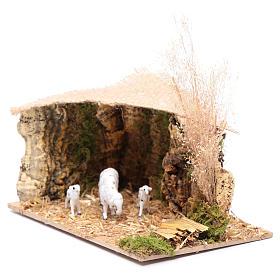 Szenerie Unterstand für Schafe mit Jutedach 5x15x10 cm s2