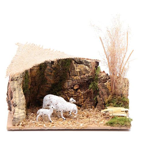 Szenerie Unterstand für Schafe mit Jutedach 5x15x10 cm 1