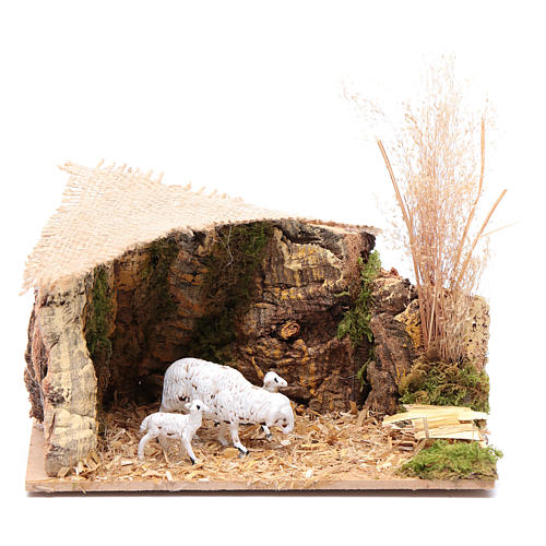 Décor moutons toit jute 7x15x10 cm 1