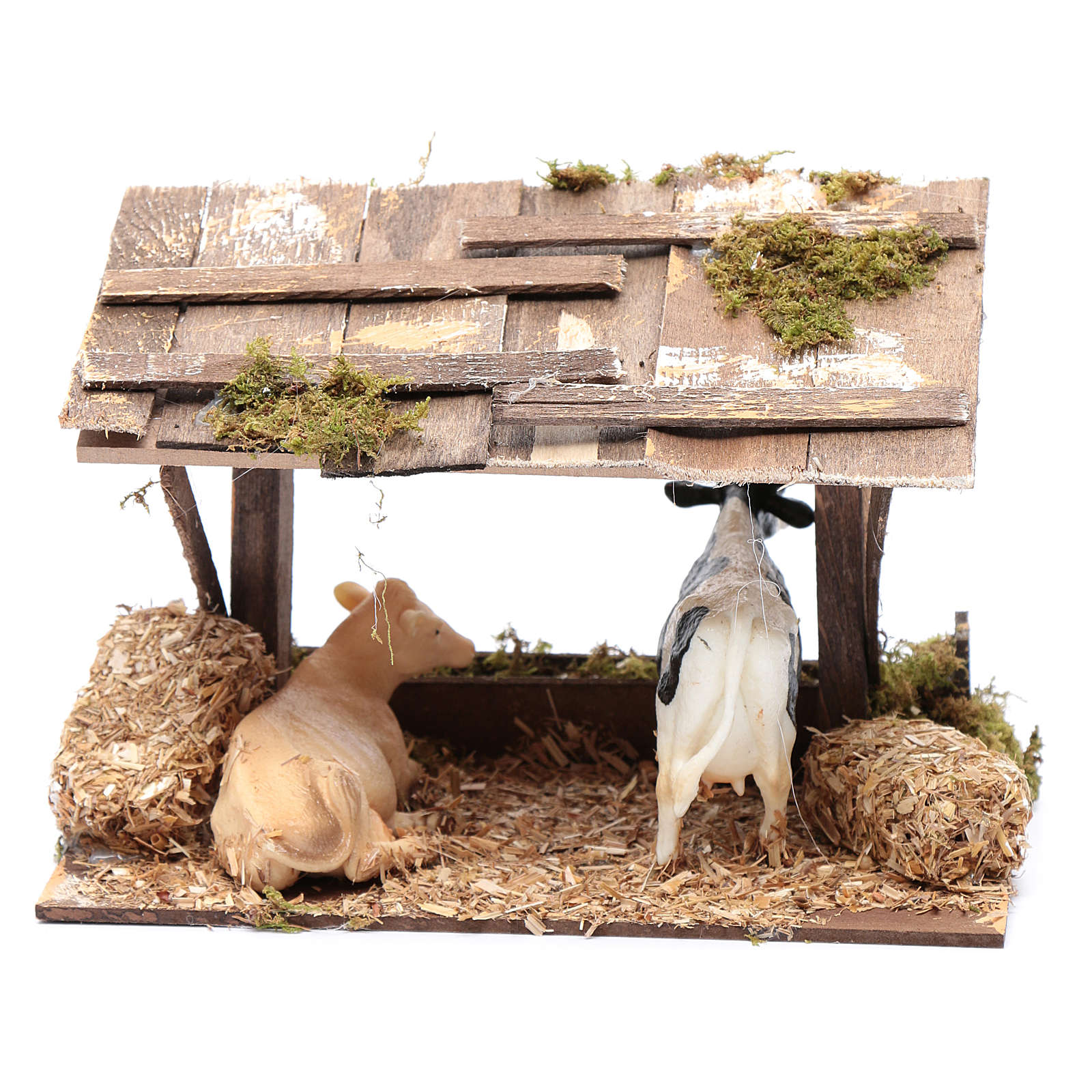 Cows in roofed barn for nativity scene 3
