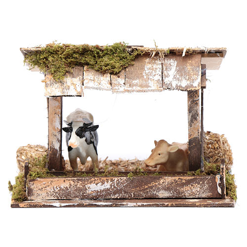 Cows in roofed barn for nativity scene 1