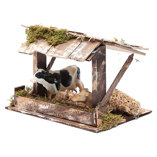 Cows in roofed barn for nativity scene 2