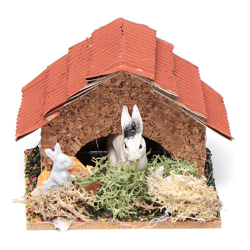 Conejera con conejos belén 5x5x5 cm 1