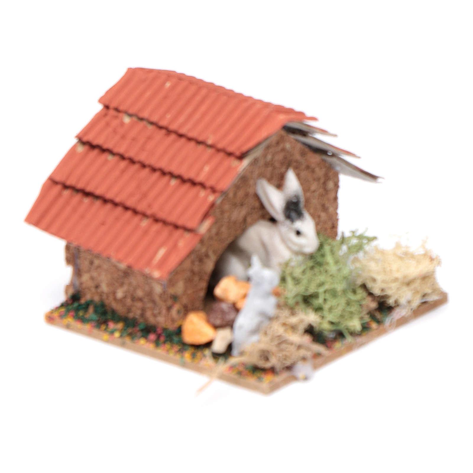 Conigliera con conigli presepe 5x5x5 cm 3