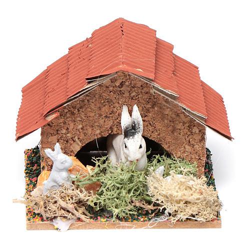 Conigliera con conigli presepe 5x5x5 cm 1