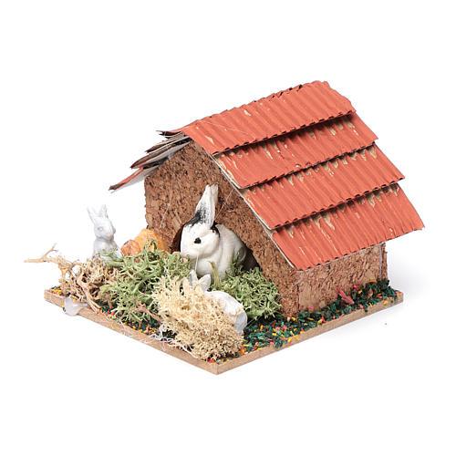 Conigliera con conigli presepe 5x5x5 cm 2