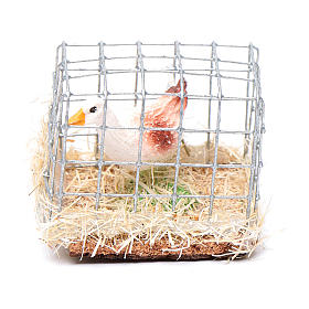 Cage with cock, Nativity Scene figurine 3 cm assorted s3
