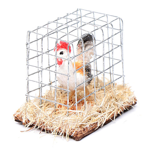 Cage with cock, Nativity Scene figurine 3 cm assorted 2