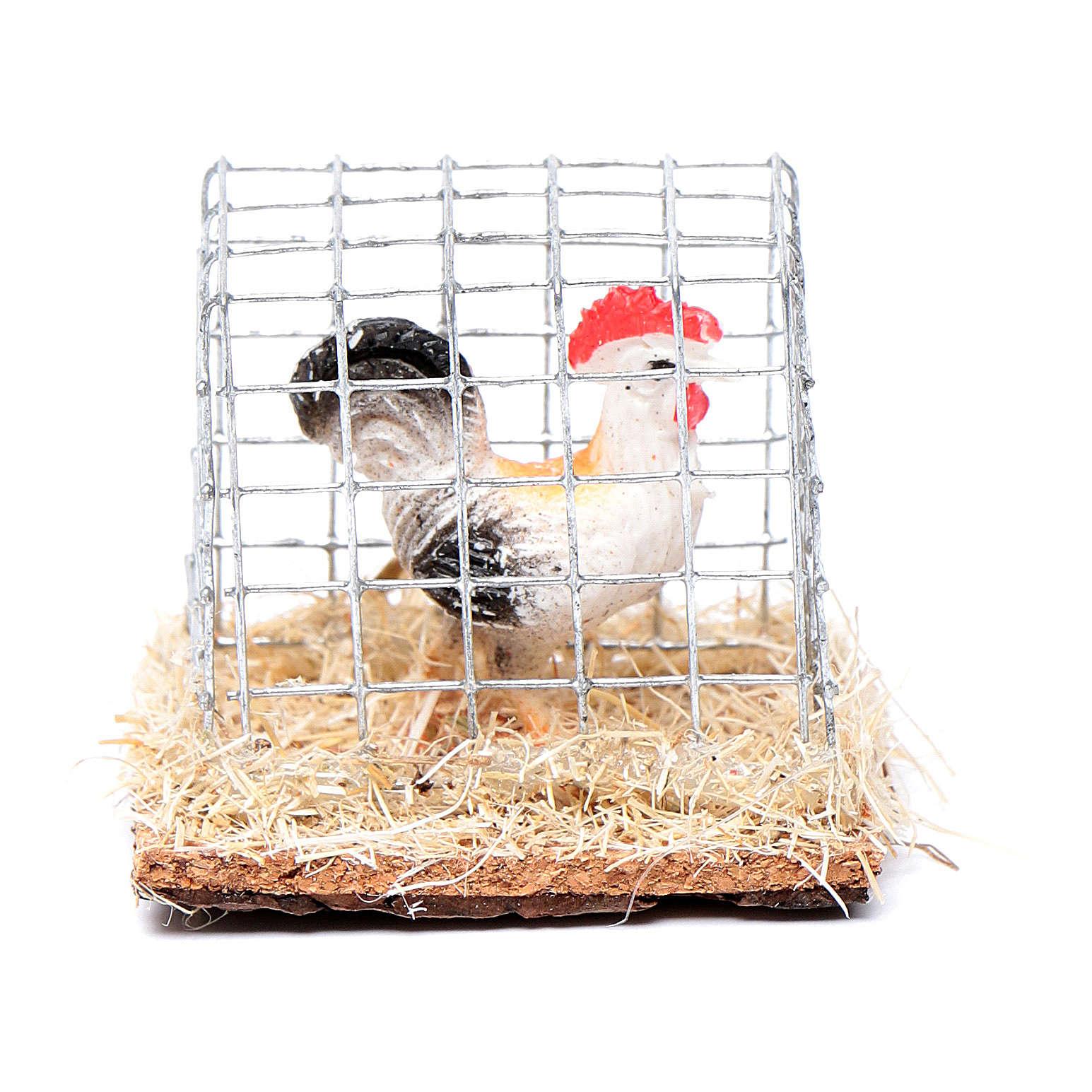 Gabbia gallo h reale 3 cm presepe assortita 3