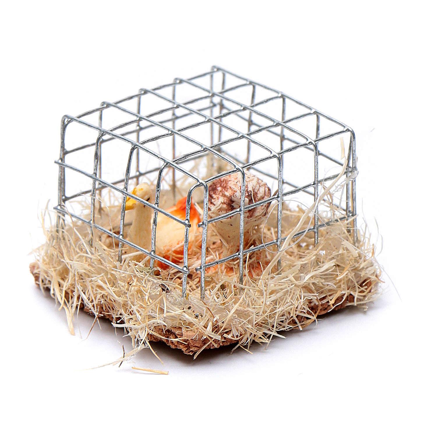 Gabbia con 2 galline h reale 2,5 cm presepe assortita 3