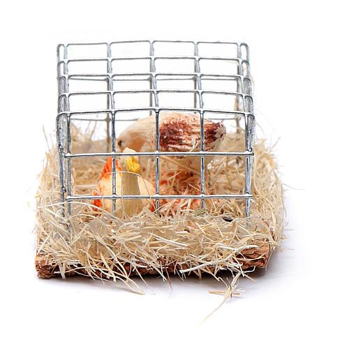 Gabbia con 2 galline h reale 2,5 cm presepe assortita 1
