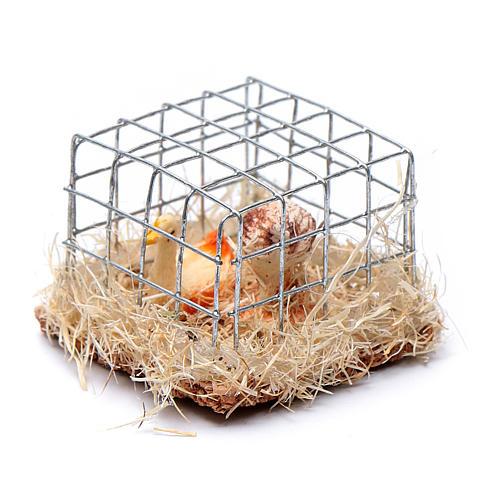 Gabbia con 2 galline h reale 2,5 cm presepe assortita 2