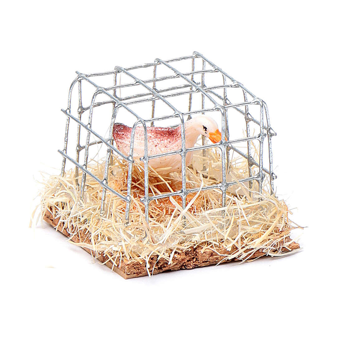 Cage with hen, Nativity Scene figurine 2.5 cm assorted  3