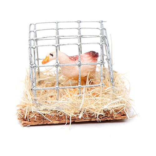 Cage with hen, Nativity Scene figurine 2.5 cm assorted  1