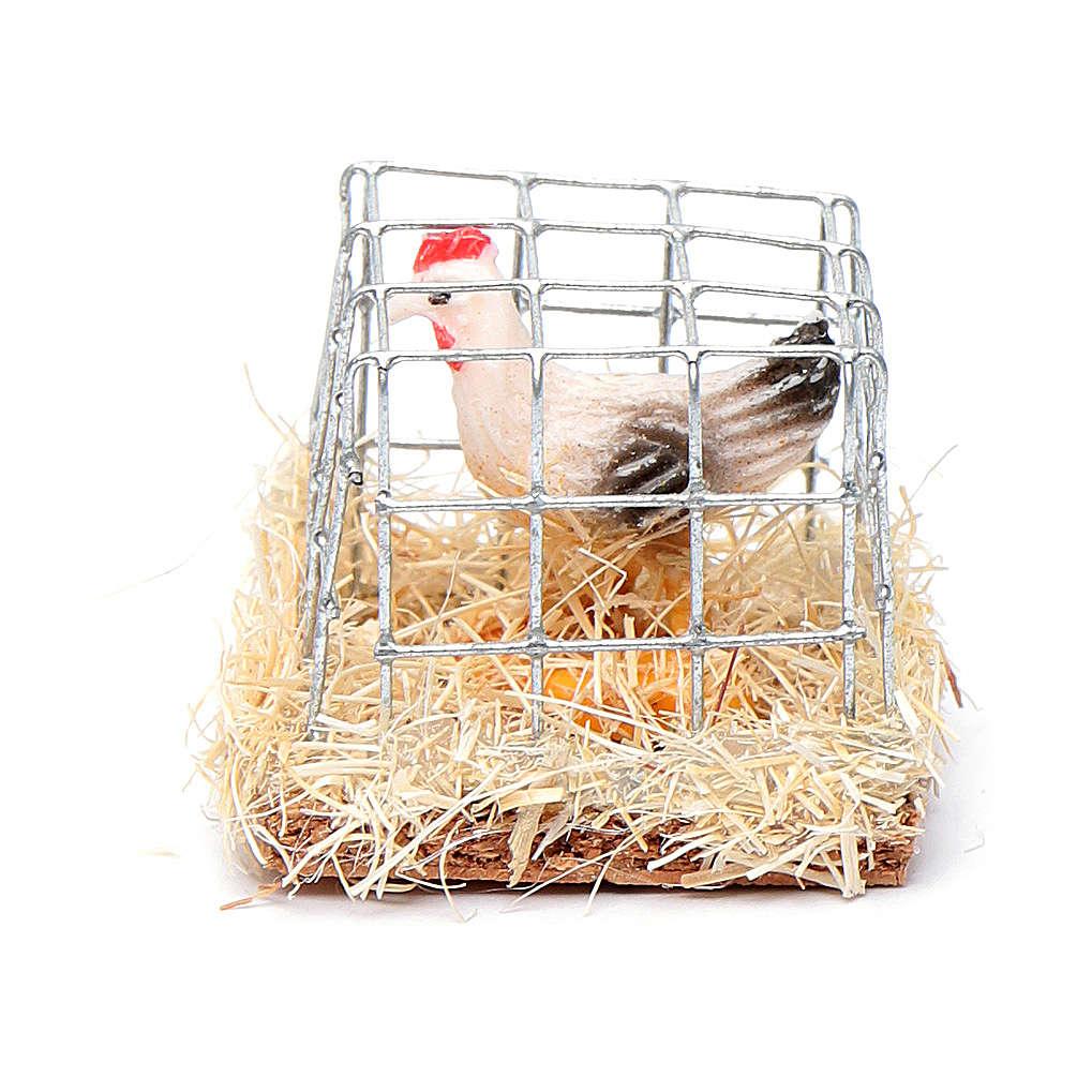 Gabbia con gallina presepe h reale 2,5 cm assortita 3