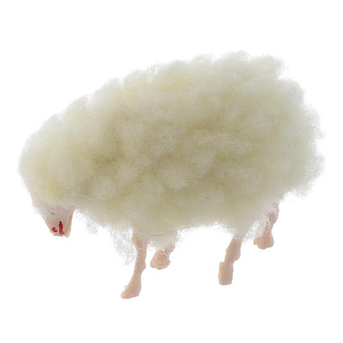 Agnello lana presepe h reale 3 cm 2