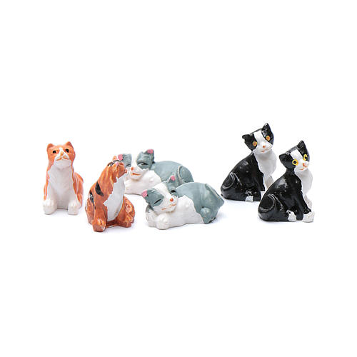 Cats in resin measuring 2 cm, 6 figurines 1