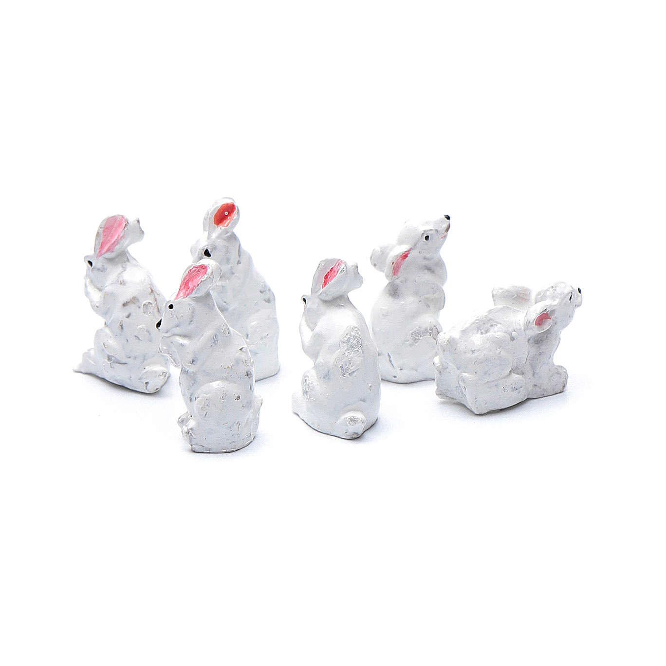Conigli 6 pz resina presepe h reale 2 cm 3