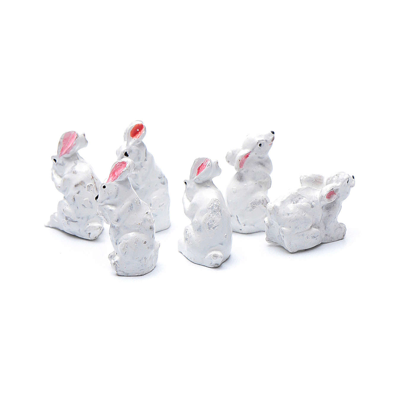 Rabbits in resin measuring 2 cm, 6 figurines 3