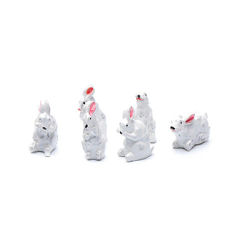 Rabbits in resin measuring 2 cm, 6 figurines 1