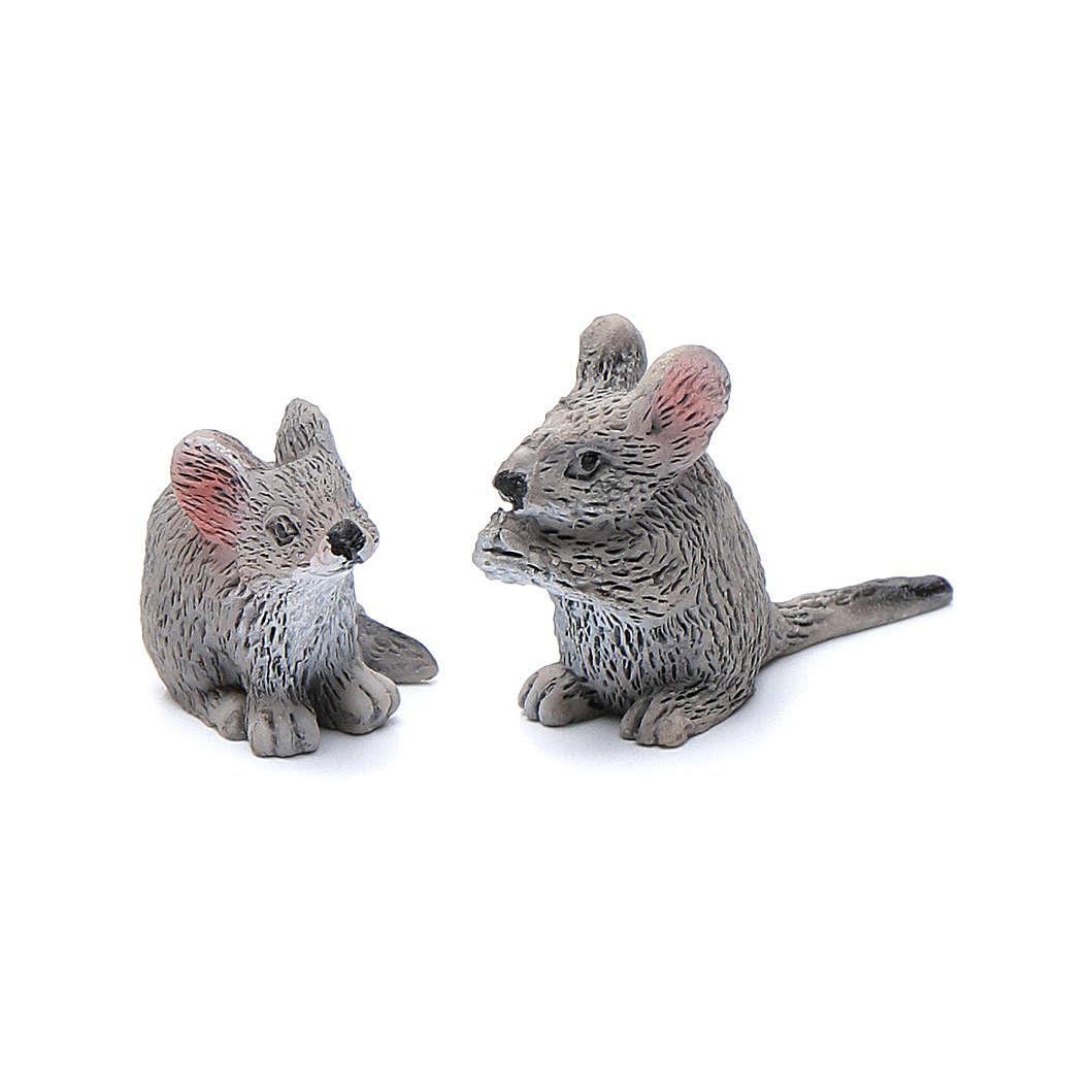 Mäuse aus Kunstharz Set zu 2 Stück reale Höhe 3 cm 3