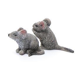 Mäuse aus Kunstharz Set zu 2 Stück reale Höhe 3 cm s2