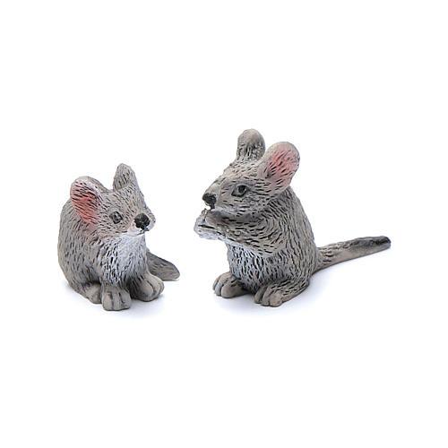 Mäuse aus Kunstharz Set zu 2 Stück reale Höhe 3 cm 1