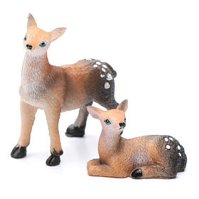 Animals for Nativity Scene: Nativity figurines, fawns in resin measuring 3 cm, 2 pieces