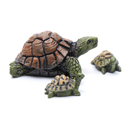 Nativity figurines, turtles in resin measuring 2-4 cm, 3 pieces 2