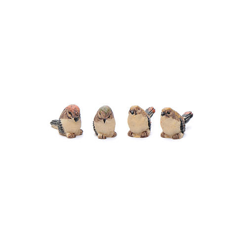 Nativity figurines, birds in resin measuring 2 cm, 4 pieces 1