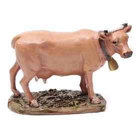 Vaca em resina pintada 7,5x12 cm para presépio com figuras de altura média 12 cm Linha Martino Landi s1