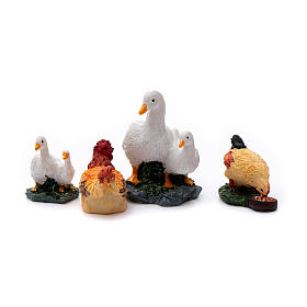 Animals for Nativity Scene: Animals for 10 cm crib in painted resin 4 pieces