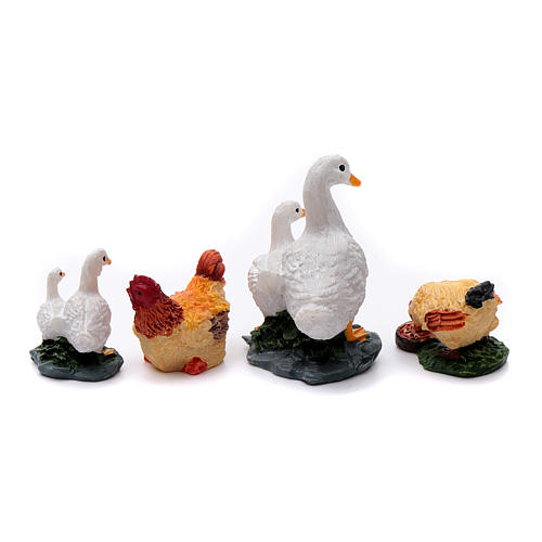 Animals for 10 cm crib in painted resin 4 pieces 2