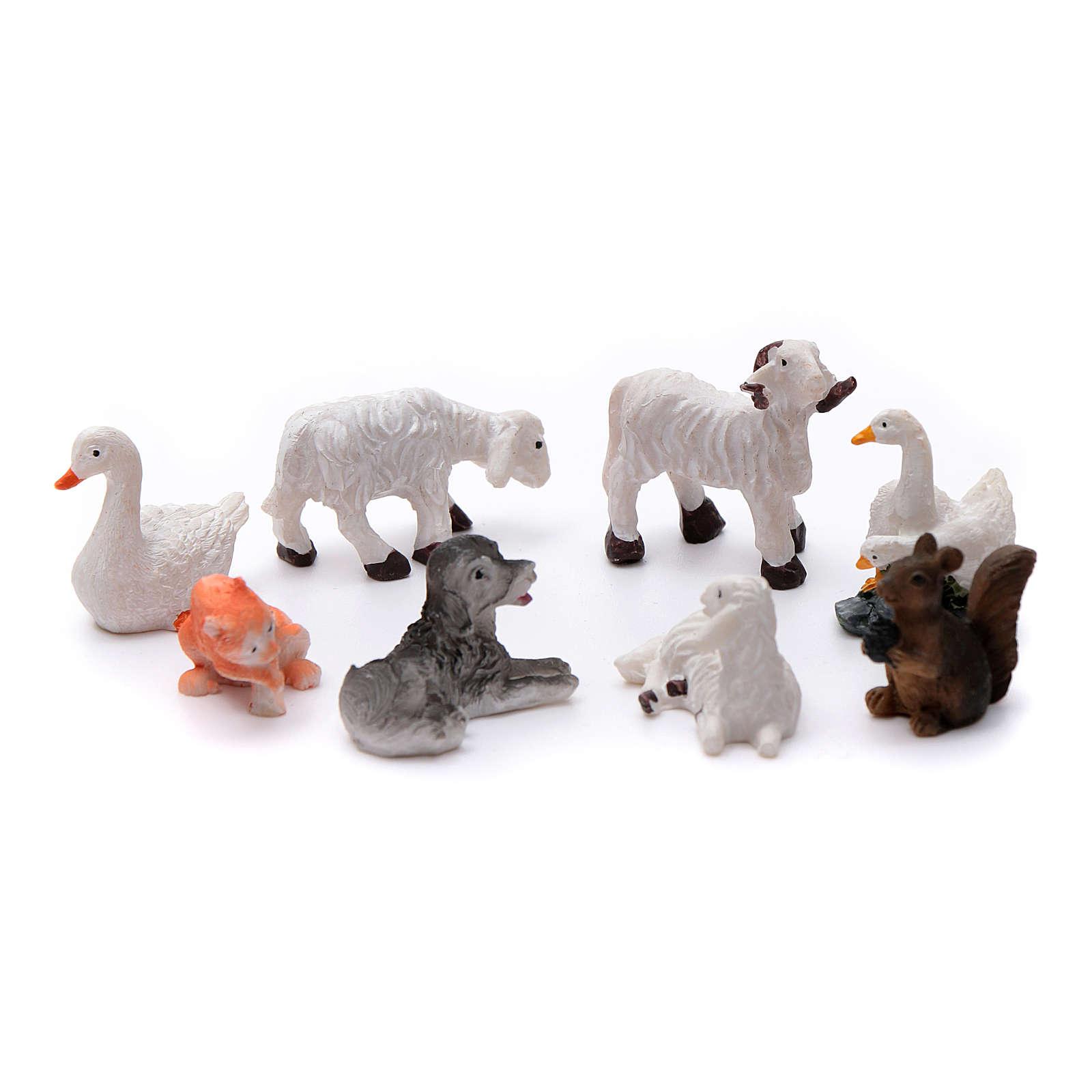 Animais 8 peças resina pintada para presépio de altura média 10 cm 3